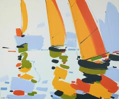 Reggata (France)-abstract seascape, made in green, white, orange, blue, yellow