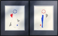 Suprematist composition red shoulder and blue stocking - line drawing figure