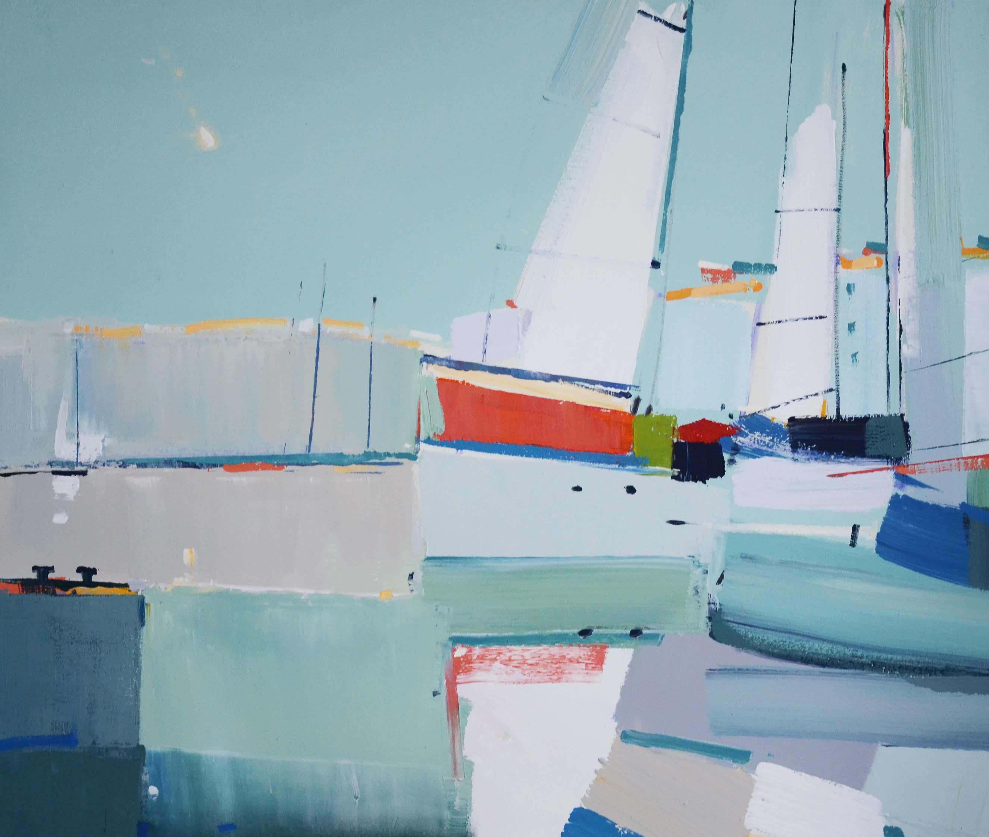 Drying the sails - abstract seascape, made in blue, white, turquoise, red color
