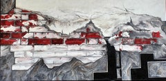 City of Angels (brick wall)-abstract painting made in red, black and white color