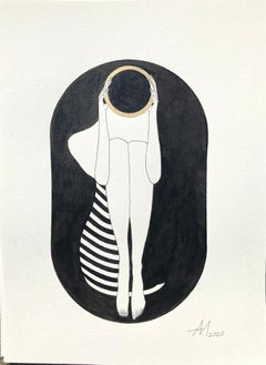 Black capsule - line drawing figure with gold disk and stripes