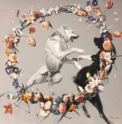 Day-dogs fighting (flowers), made in grey, red, orange, black and white color