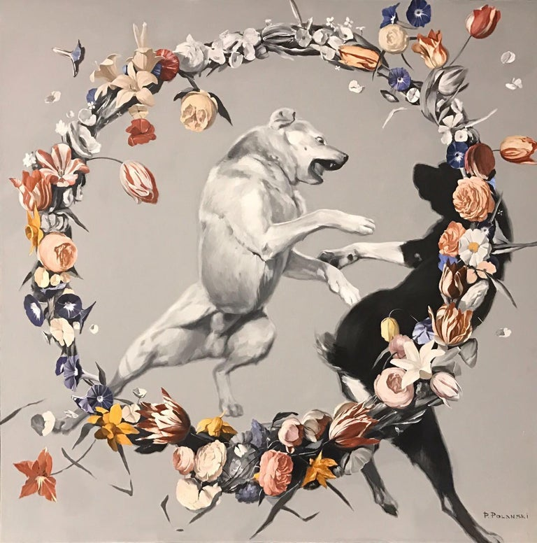 Pavel Polanski Figurative Painting - Day-dogs fighting (flowers), made in grey, red, orange, black and white color