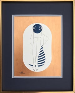 White capsule - line drawing figure with deep blue disk and stripes