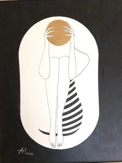 White capsule - line drawing figure with gold disk and stripes