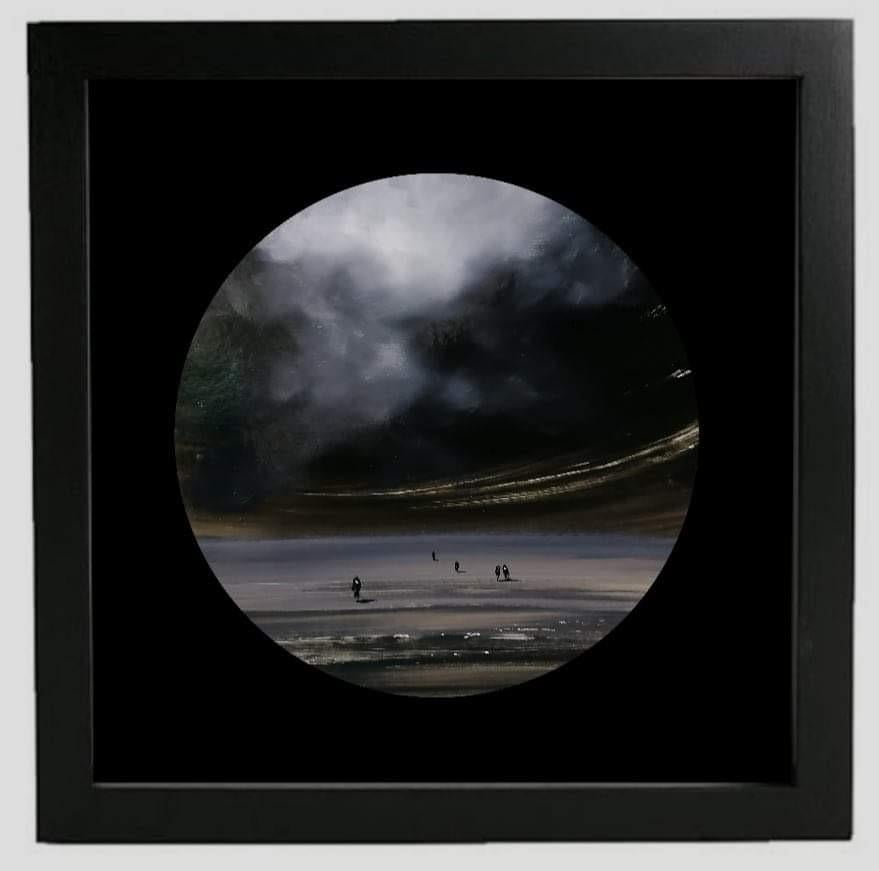 Observer clouds (circle) - landscape with beige, grey, black and white color