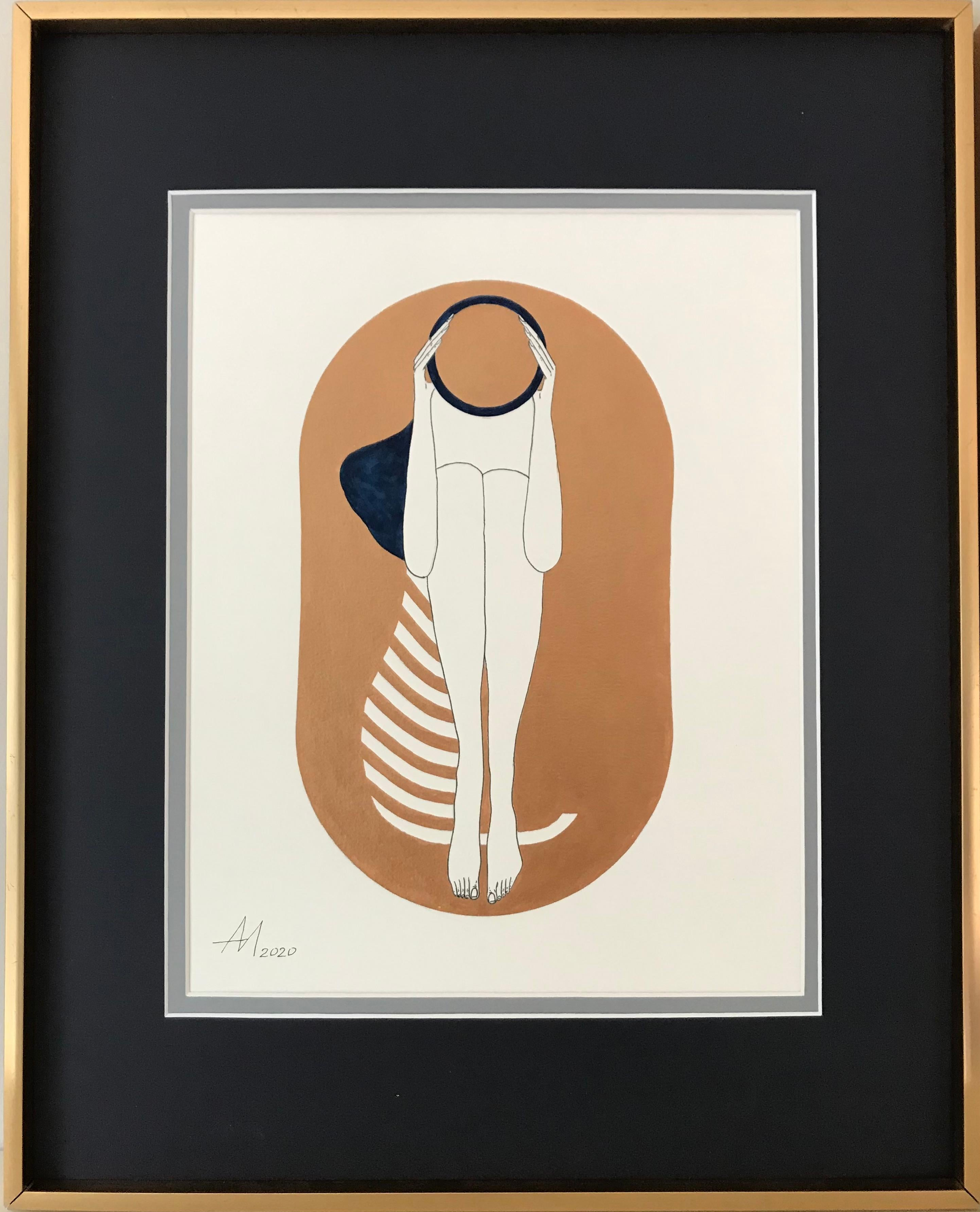 Bronze capsule - line drawing figure with deep blue disk and stripes