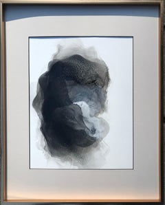 Haze - abstract painting, made in beige, black and white color