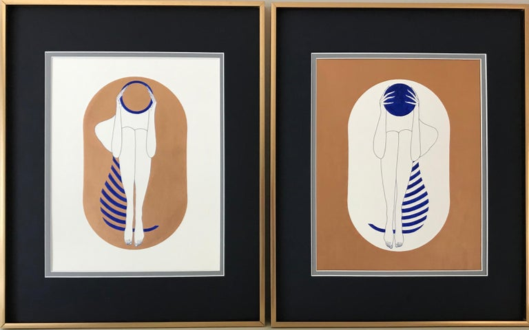 Mila Akopova Abstract Drawing - Bronze and white capsules - line drawing figure with ultramarine disk, stripes