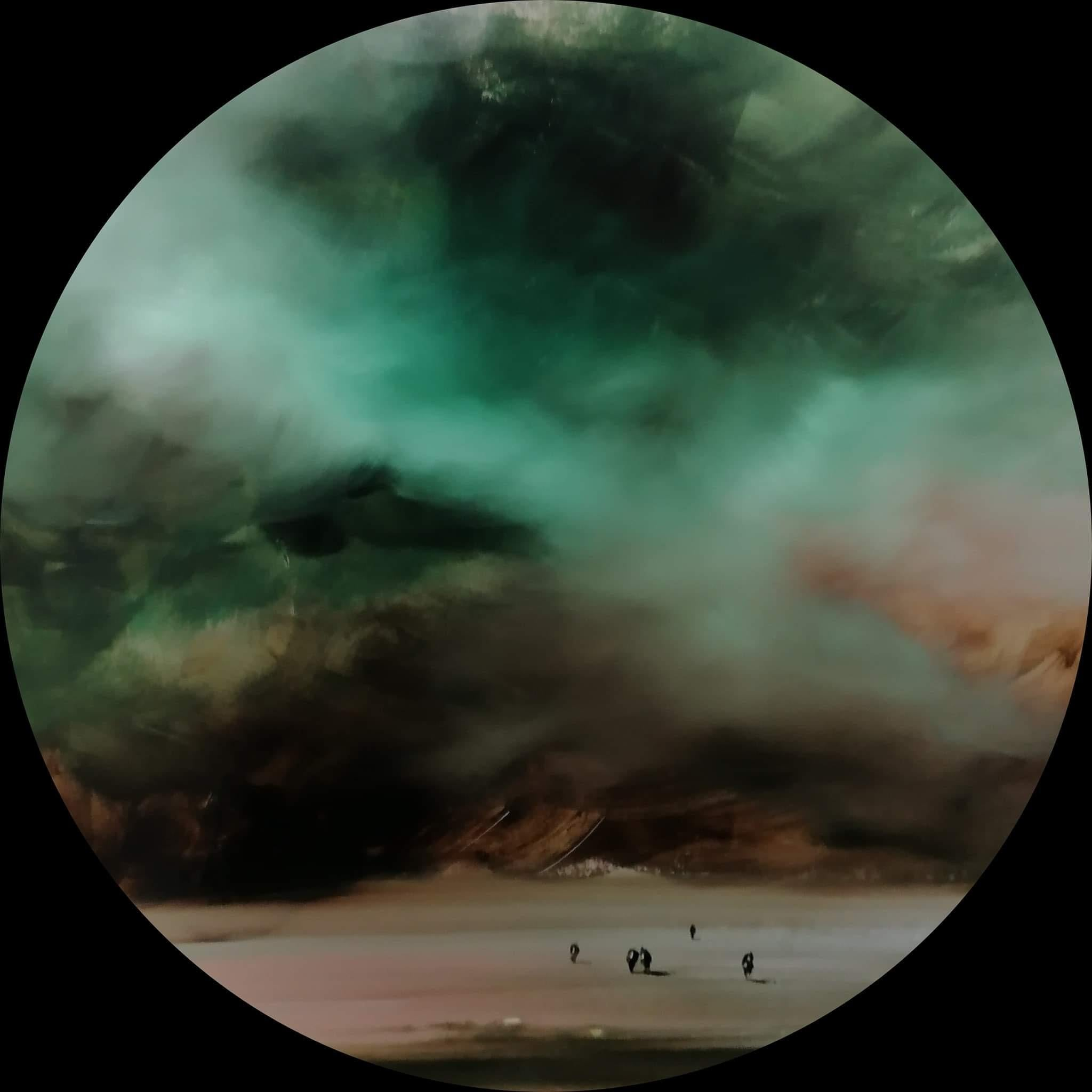 Observer (circle) - landscape with green, brown, beige and white clouds