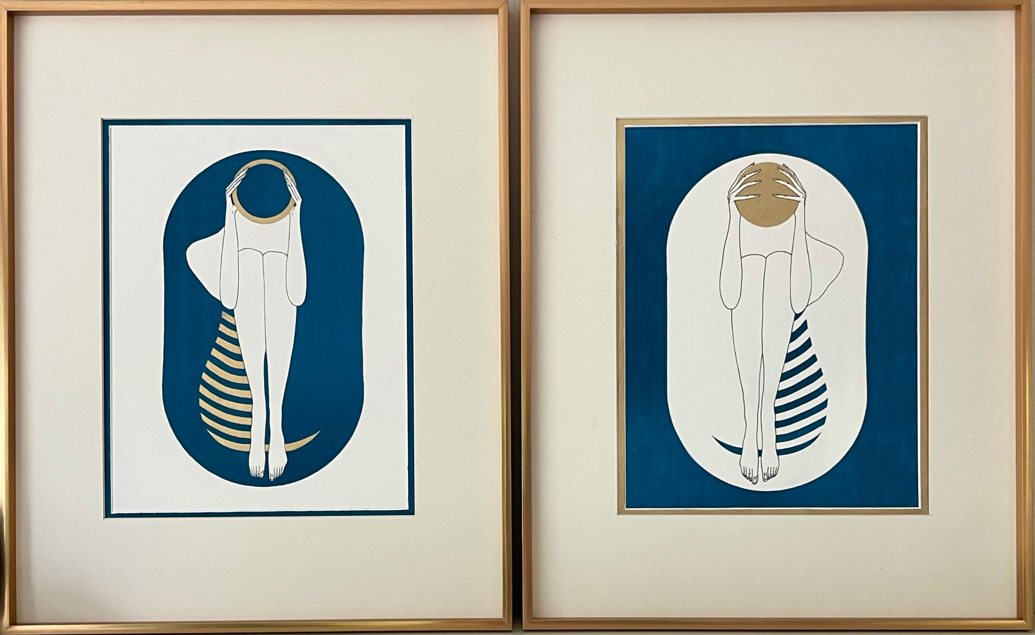 Turquoise and white capsule - line drawing figure with gold disk and stripes