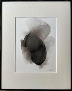 Inspiration - abstract painting, made in black, grey color