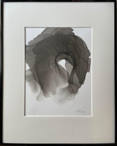 Metamorphosis - abstract painting, made in black, grey color