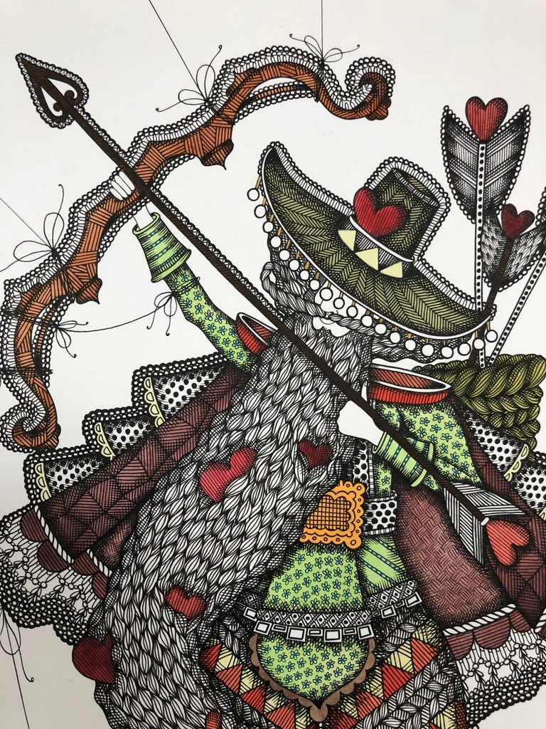 I'm the Love's Indian and I grab the luck's arrow - illustration, ornamental  - Art by Alisa Fomina