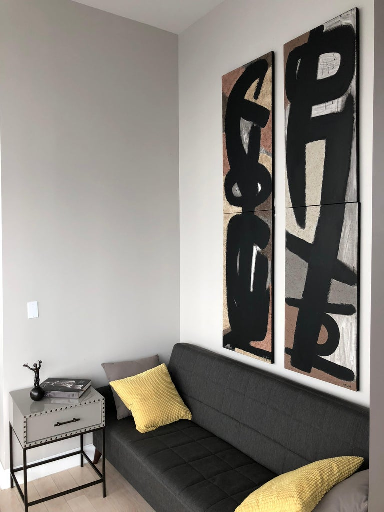 From the Vertical Series II - art in dark in black, grey, beige and peach puff For Sale 7