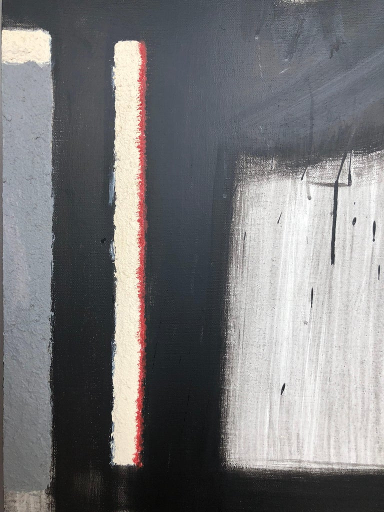 Scenery from the Vertical Series - art in black, violet, grey, beige and yellow For Sale 1