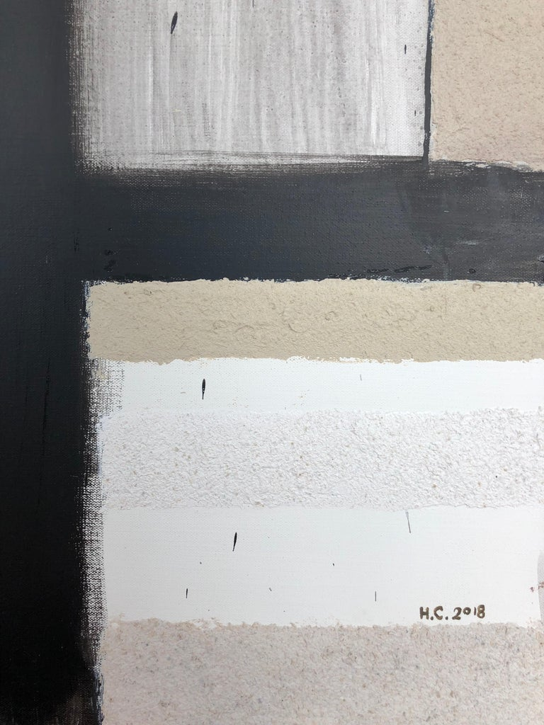 Scenery from the Vertical Series - art in black, violet, grey, beige and yellow For Sale 2