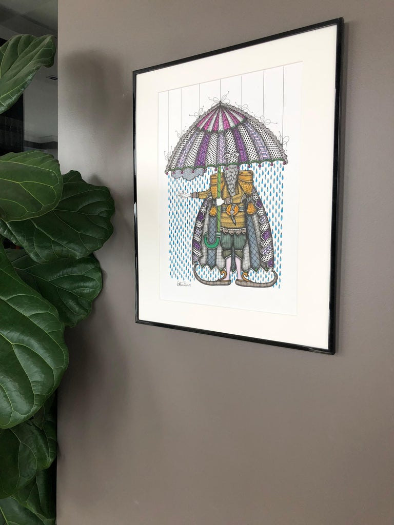 The artist is presenting the drawing of man with an umbrella made in grey, dark blue, violet and yellow. The size with mat is 50x40 cm (20x16 in), the drawing itself is 42x30 cm (16.5x12in).  Alisa Fomina, 1989, Minsk (Belarus). Born in an