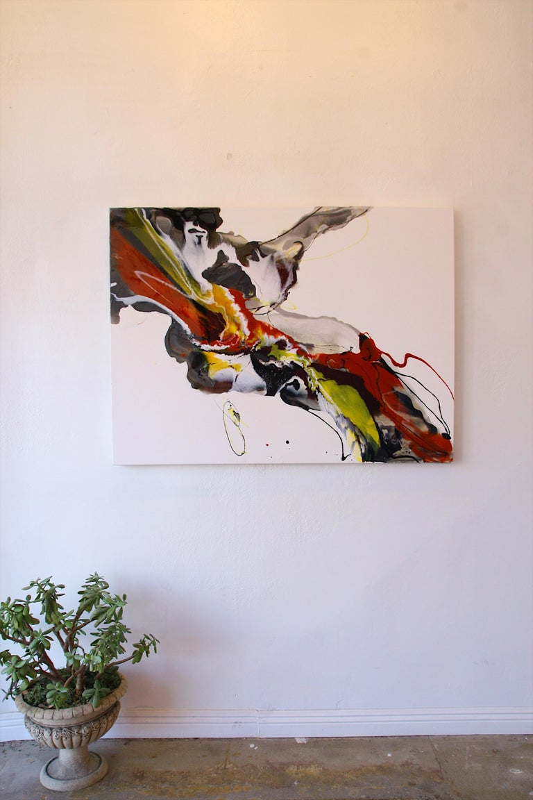 Untitled - abstract painting in red orange yellow white black  - Abstract Expressionist Mixed Media Art by Lena Cher