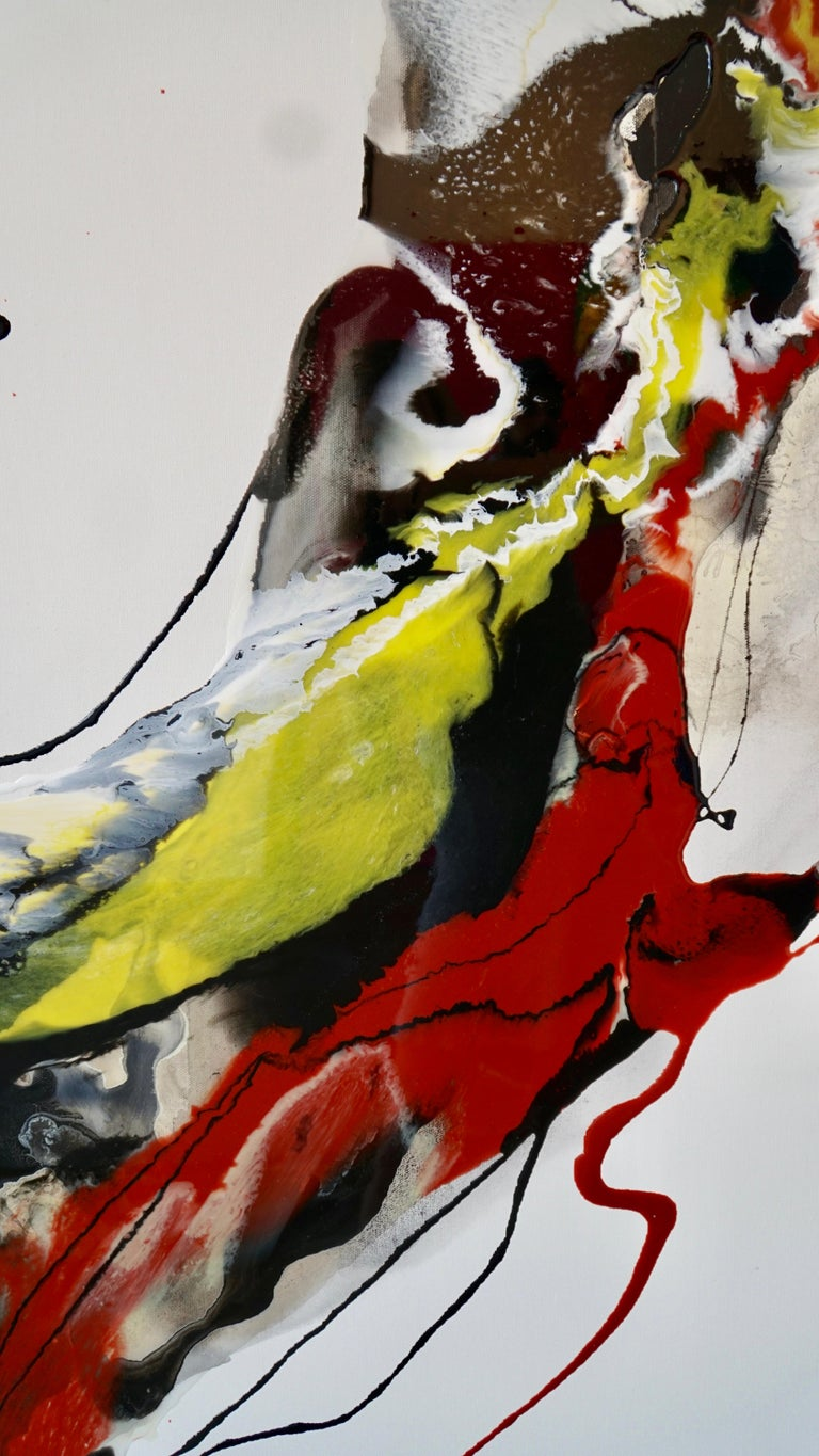 Untitled - abstract painting in red orange yellow white black  For Sale 2