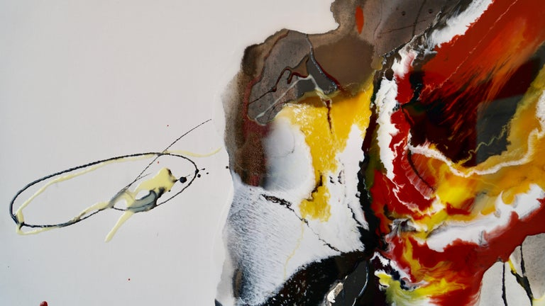 Untitled - abstract painting in red orange yellow white black  For Sale 4