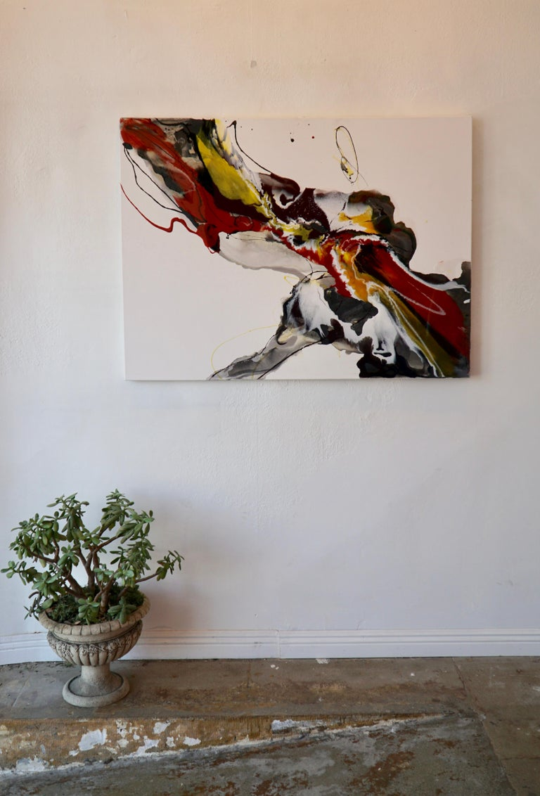 Untitled - abstract painting in red orange yellow white black  For Sale 1