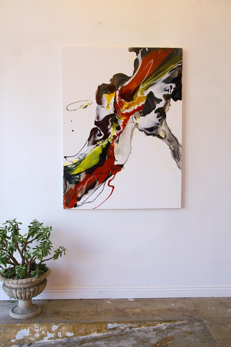 Interior design paintings. Abstraction art, made in red, orange, yellow, black, white and grey. Can be positioned in horizontal or vertical mode.  Lena Chernyavskaya / LENA CHER Born in 1986. She lives and works in Moscow and Los Angeles. An