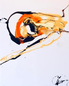 Composition II - abstraction art, made in black, orange, yellow and white