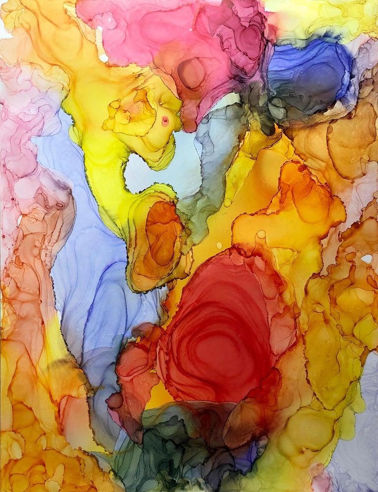 Iguazu-made in orange, yellow, red,blue, pink, green - Painting by Mila Akopova