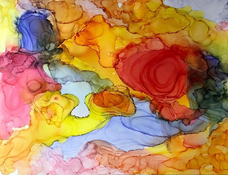 Mila Akopova Abstract Painting - Iguazu-made in orange, yellow, red,blue, pink, green