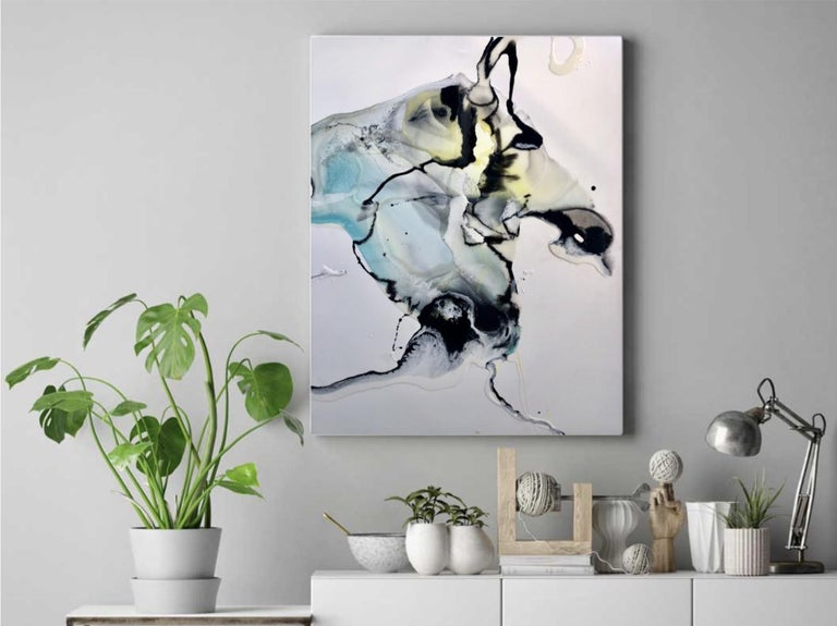 Ocean - abstract painting in black, yellow, turquoise blue - Green Abstract Drawing by Lena Cher
