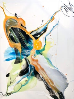 Blue Flows #2 - abstract painting in light blue, yellow,orange, black and white