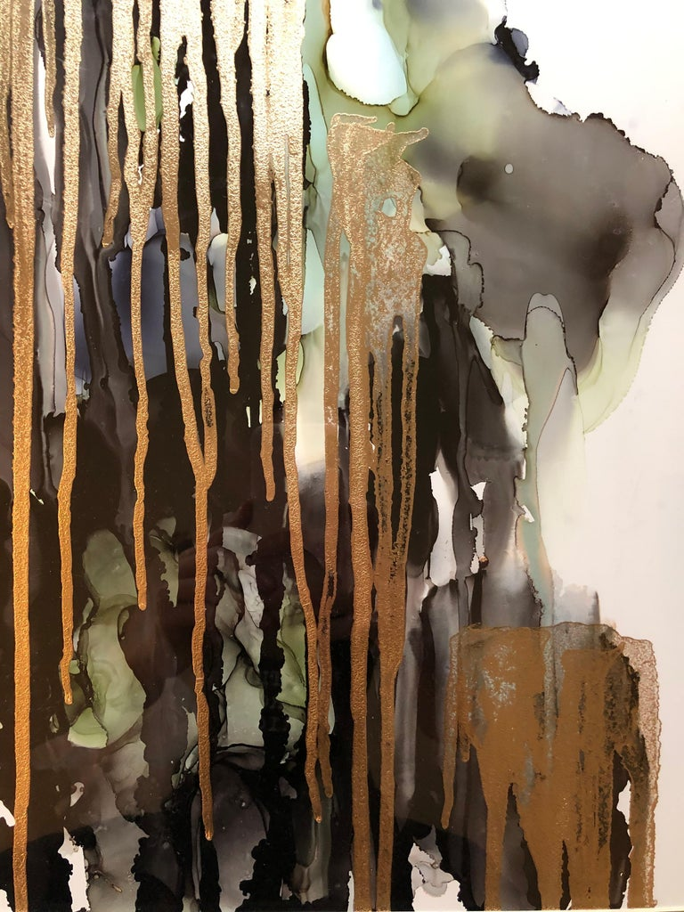 Weeping willow-abstract painting, made in green,gold,back,grey,olive color - Art by Mila Akopova