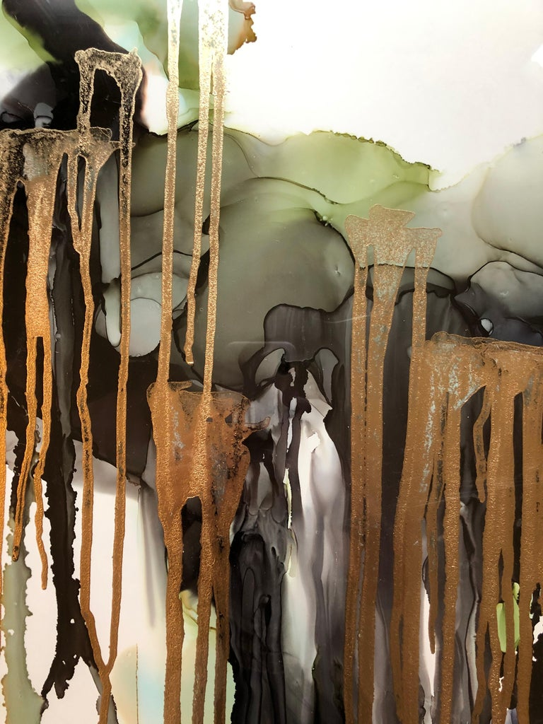 Weeping willow-abstract painting, made in green,gold,back,grey,olive color - Brown Abstract Drawing by Mila Akopova