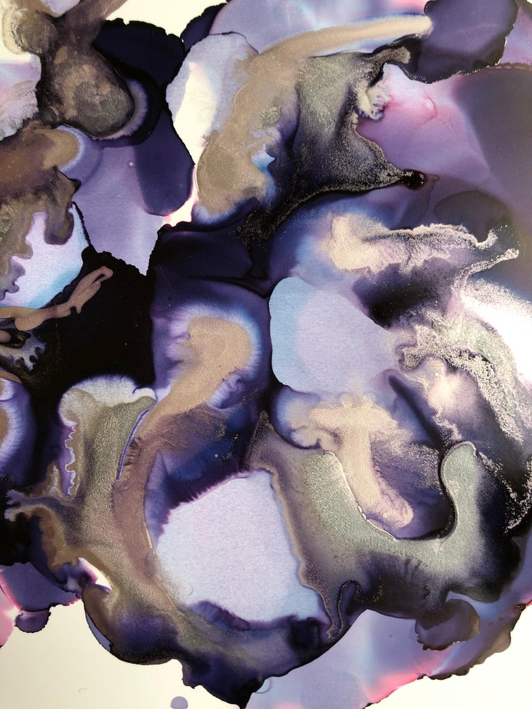 Iris II-abstraction art,made in violet,purple,pink,gold,silver - Abstract Expressionist Painting by Mila Akopova