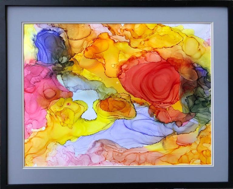 Mila Akopova Abstract Drawing - Iguazu-made in orange, yellow, red,blue, pink, green