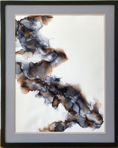 Mystification II- abstraction art, made in brown, grey, blue