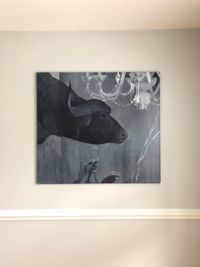 Abduction of Europe diptych-interior art made in grey, white and black color - Gray Figurative Painting by Pavel Polanski