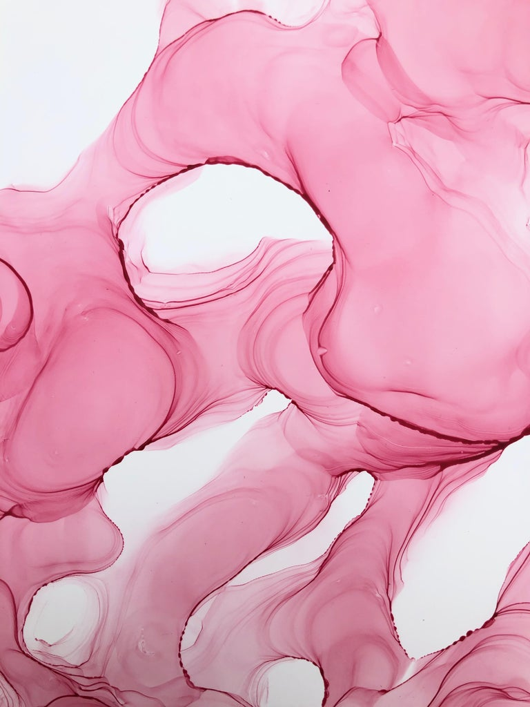 Wild Orchid II-abstraction art, made in pale pink, rose colored - Abstract Expressionist Painting by Mila Akopova