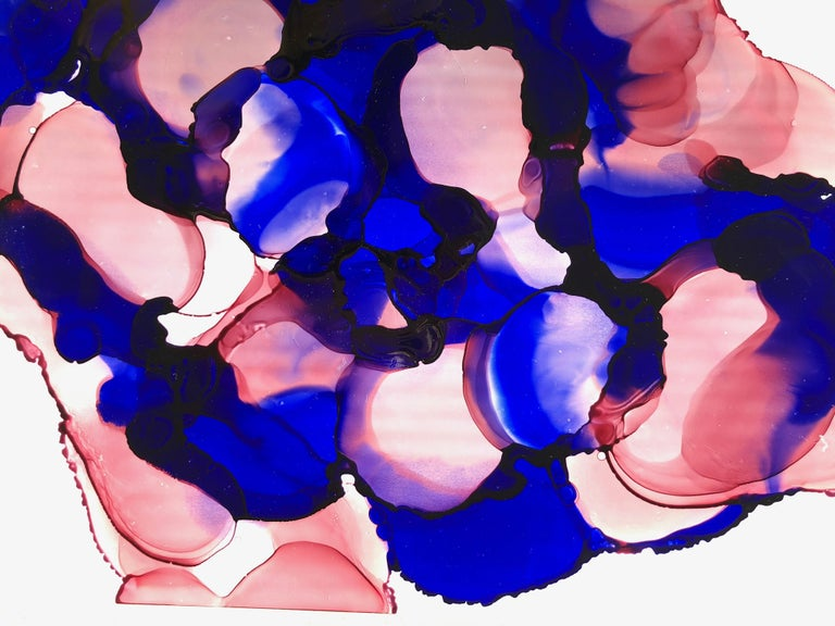 Summer cocktail-abstraction art,made in ultramarine blue, rose, pink color For Sale 1