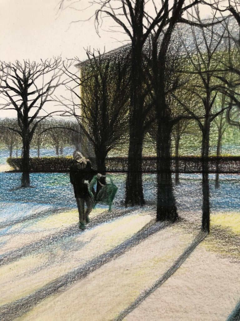 Tuileries (Paris,France)-winter park, made in blue, white, green, black, framed - Blue Landscape Art by Evgeniya Buravleva