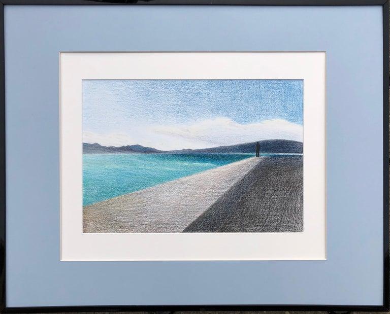 Evgeniya Buravleva Figurative Art - Cannes - seascape made in grey, black, blue, turquoise color