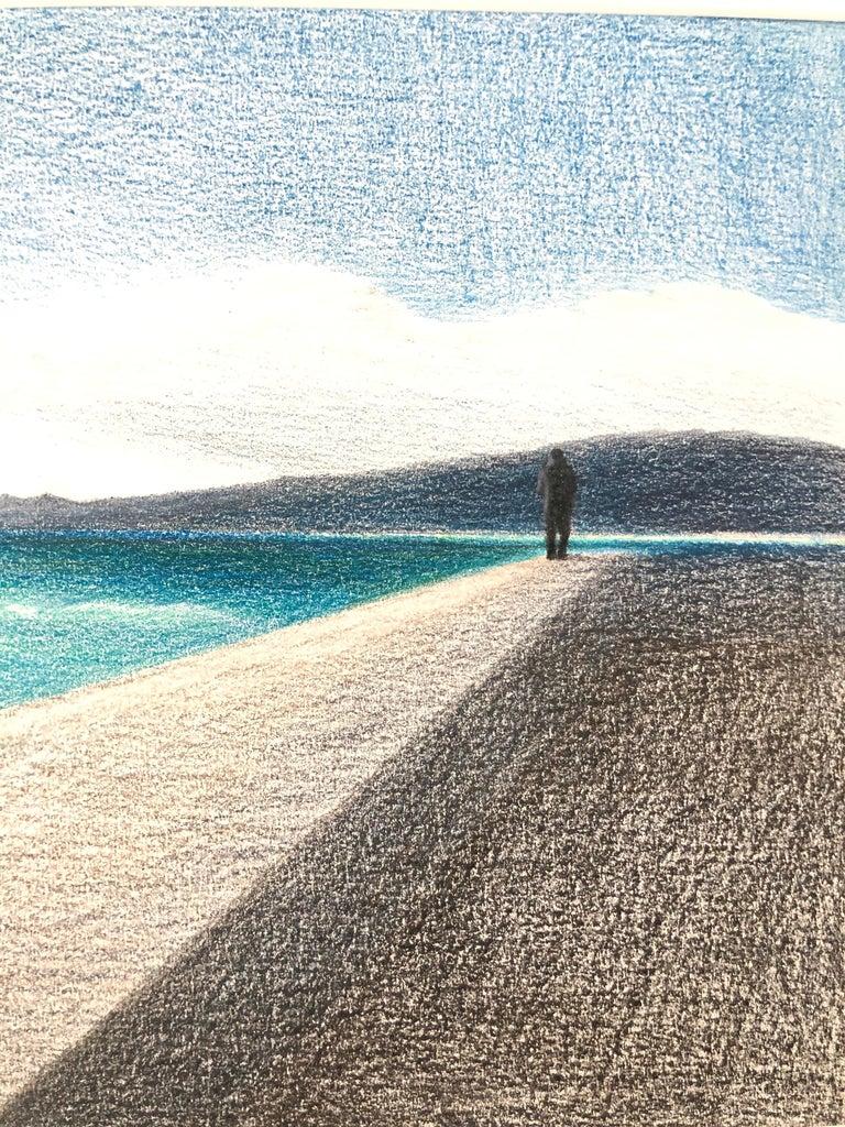 Cannes - seascape made in grey, black, blue, turquoise color - Blue Figurative Art by Evgeniya Buravleva