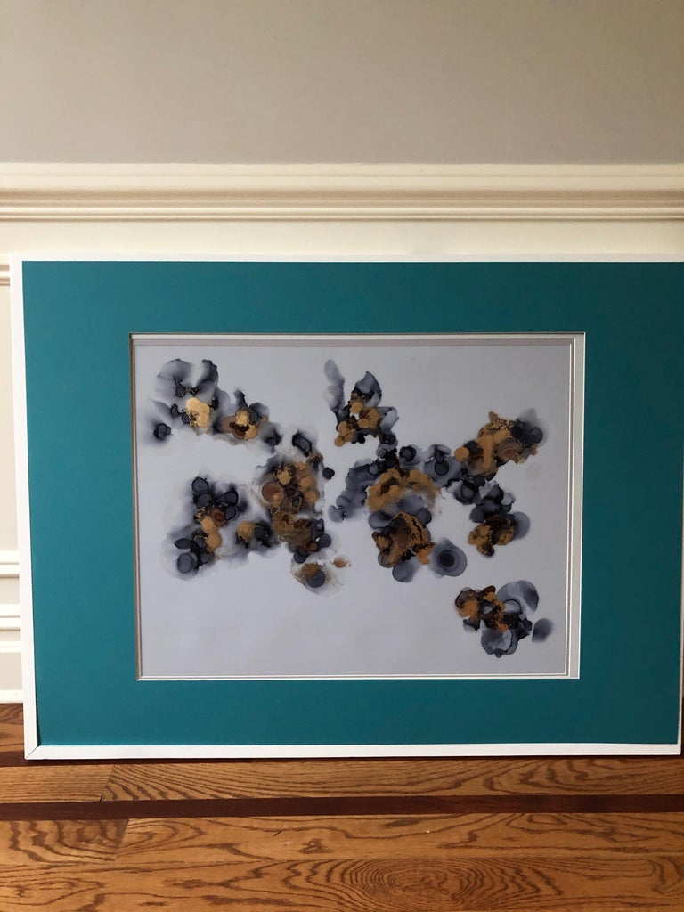 Delicacy II - abstraction art, made in gold, brown, gray, navy blue, turquoise  For Sale 4