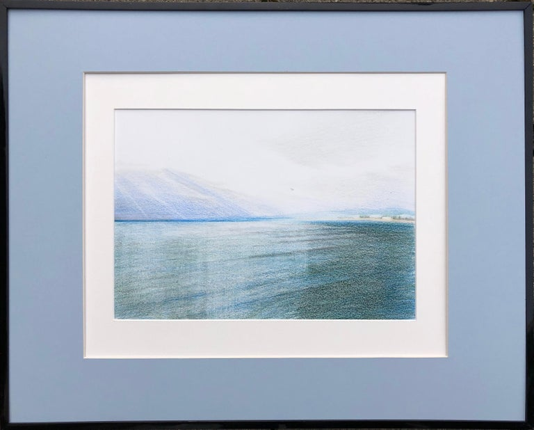 Evgeniya Buravleva Abstract Drawing - Nice.Airport(France)-seascape made in blue, white, green, framed