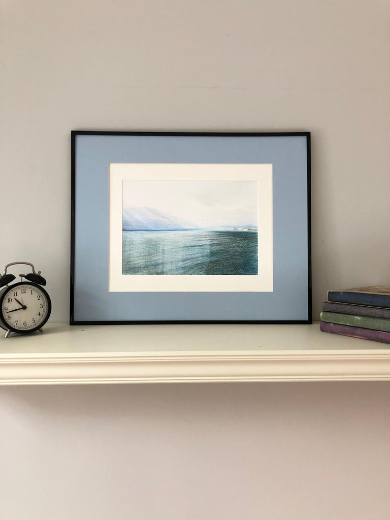 Nice.Airport(France)-seascape made in blue, white, green, framed - Realist Art by Evgeniya Buravleva