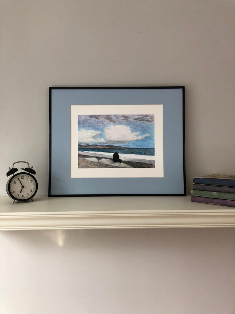 Cote d'Azur (France)-seascape made in blue, white, black, grey framed - Realist Art by Evgeniya Buravleva