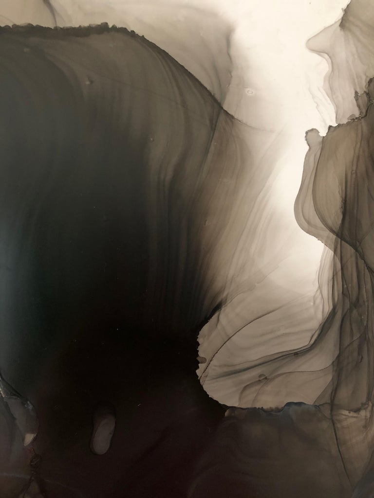 Untitled - abstraction art, made in black, grey, beige color - Abstract Expressionist Art by Mila Akopova