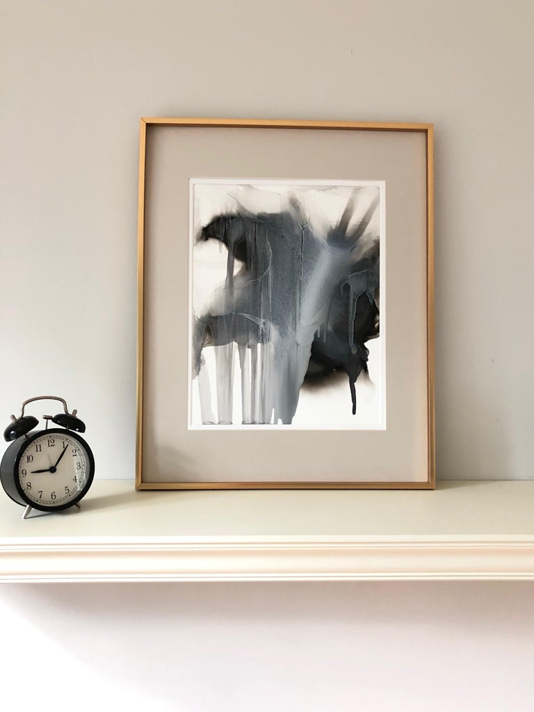 February 7th - abstraction art, made in black, grey, beige, white color - Painting by Mila Akopova