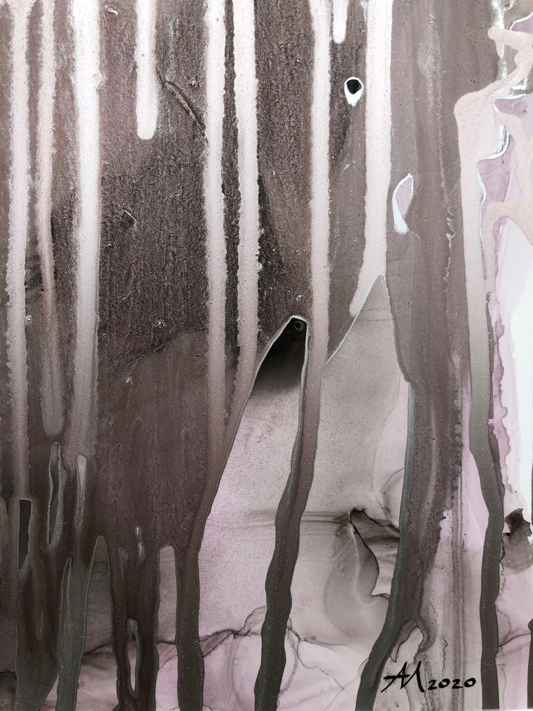 Untitled-abstract painting, made in pale pink, gold-silver, black, brown color - Painting by Mila Akopova